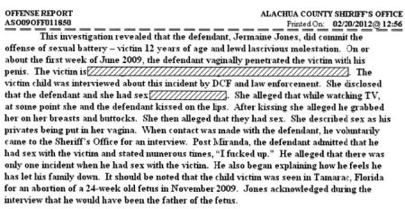 Image: Jermaine Jones arrest report takes victim to Michael Benjamin for abortion