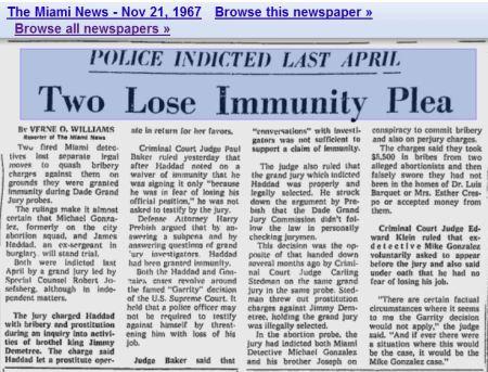 Miami 1967 abortion police bribe