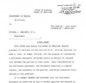 Image: Michael Benjamin Settlement-agreement DOH