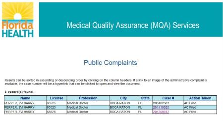 FL Med Board Complaints Harry Perper abortion doc
