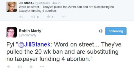 Jill Stanek Marty tweets 20 week abortion ban