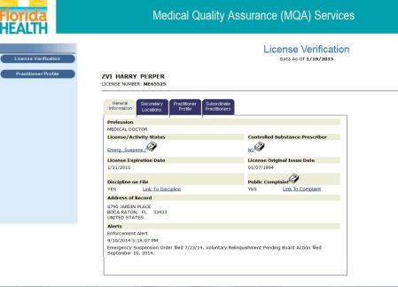 Med License suspended Zvi Perper FL