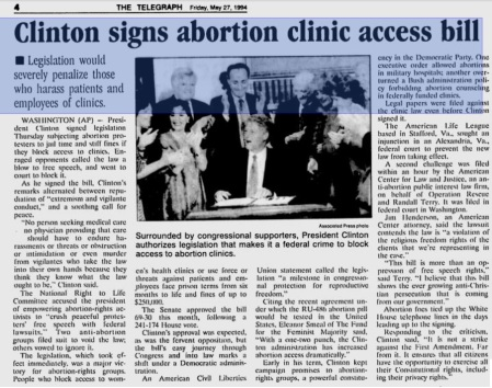 Abortion Clinic Access Bill Clinton 1994