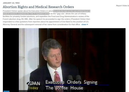 Bill CLinton lifts several bans on abortion 1993