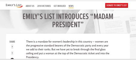 Emilys LIst Madam President web