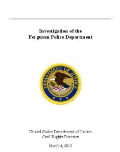 Ferguson DOJ Investigation