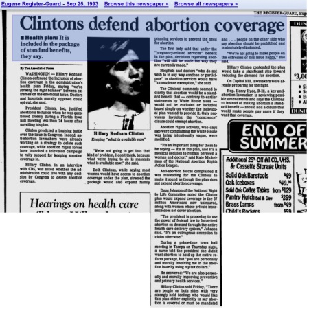 Hillary Clinton Abortion Health Care