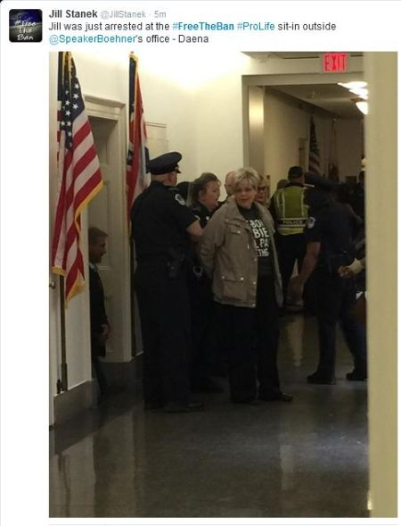 Jill Stanek arretsted Boehner office freetheban