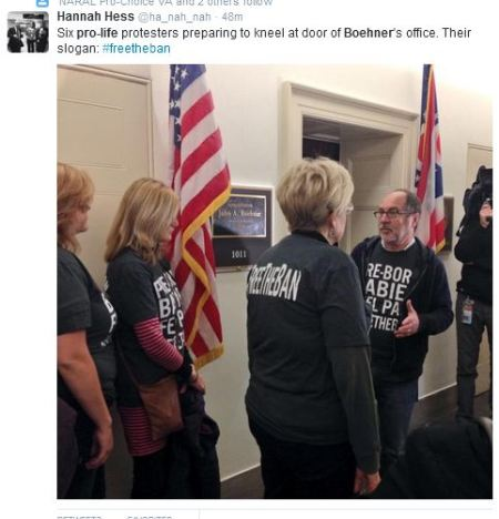 Jill Stanek kneel Boehner office abortion