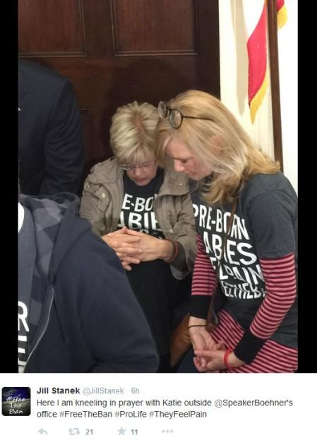 Jill Stanek kneels with katie Mahoney Boehner abortion prolife