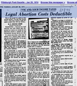 Legal abortion deductible 1974