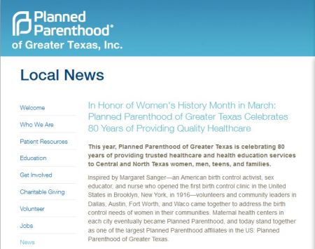 Planned Parenthood Greater Texas Margaret Sanger
