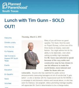 Tim GUnn Planned Parenthood