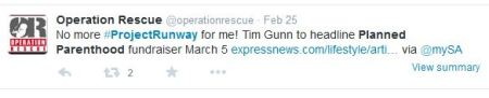 Tim Gunn Project Runway Planned Parenthood abortion tweets 2