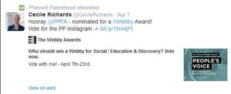 Cecile Richards PPFA Webby Awards