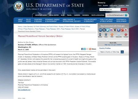 Dept of State Hillary CLinton Margaret Sanger award