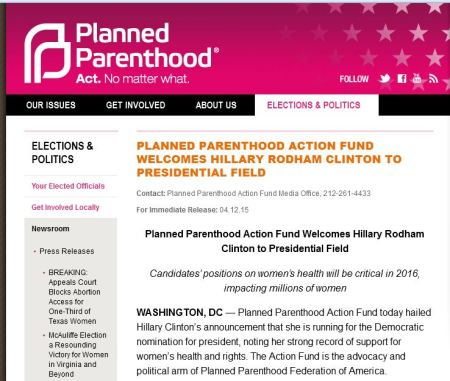 Planned Parenthood congratulates Hillary CLinton 2016