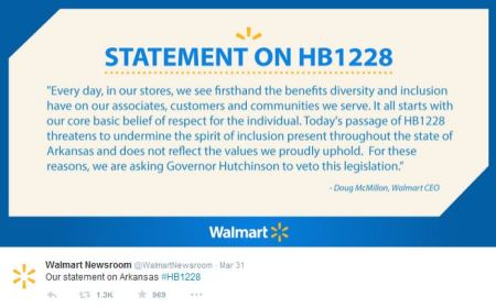 Walmart statement on RFRA