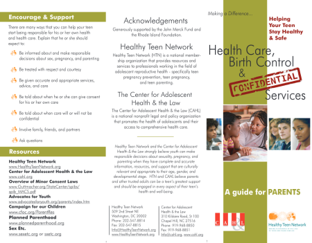 Healthy Teen Network brochure 1