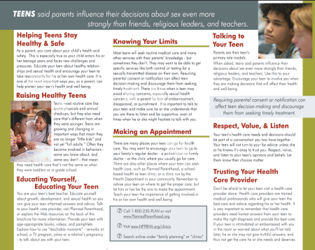 Healthy Teen Network brochure 2 planned parenthood