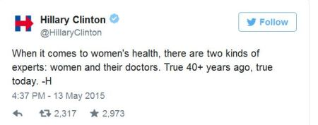 Hillary Clinton 20 week abortion ban tweet