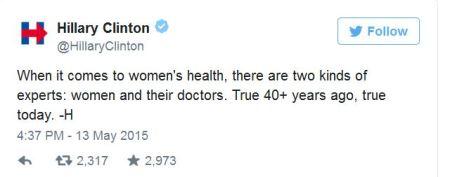 Hillary Clinton 20 week abortion ban tweet