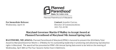 Martin OMalley Planned Parenthood Award