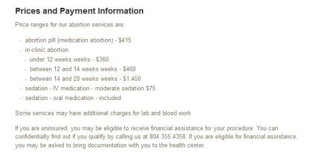 Planned Parenthood abortion price list