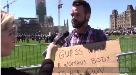 Prochoice man Canada March for life prenatal abortion