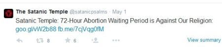 Satanic Temple 72 our waiting period abortion tweet