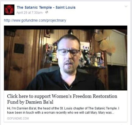 Satanic Temple abortion GoFundMe