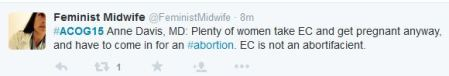 WOmen take EC have to come for abortion ACOG