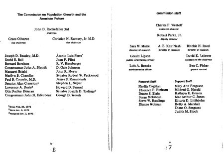 Image: Nixon Commission on Population chaired by eugenics members