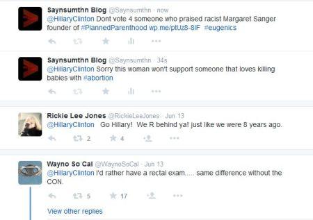 Hillary CLinton tweet replies