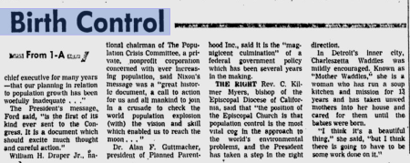 Nixon Birth COntrol Religious Title X Guttmacher