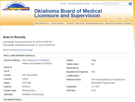 Patel-Oklahoma-Med-Board-no-license