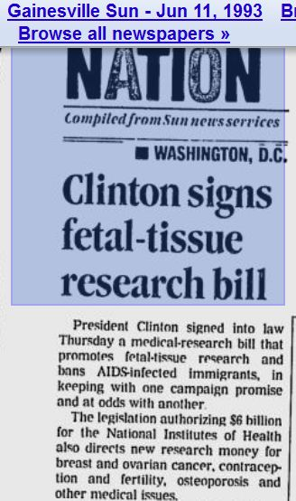 1993 Clinton signs fetal tissue research bill