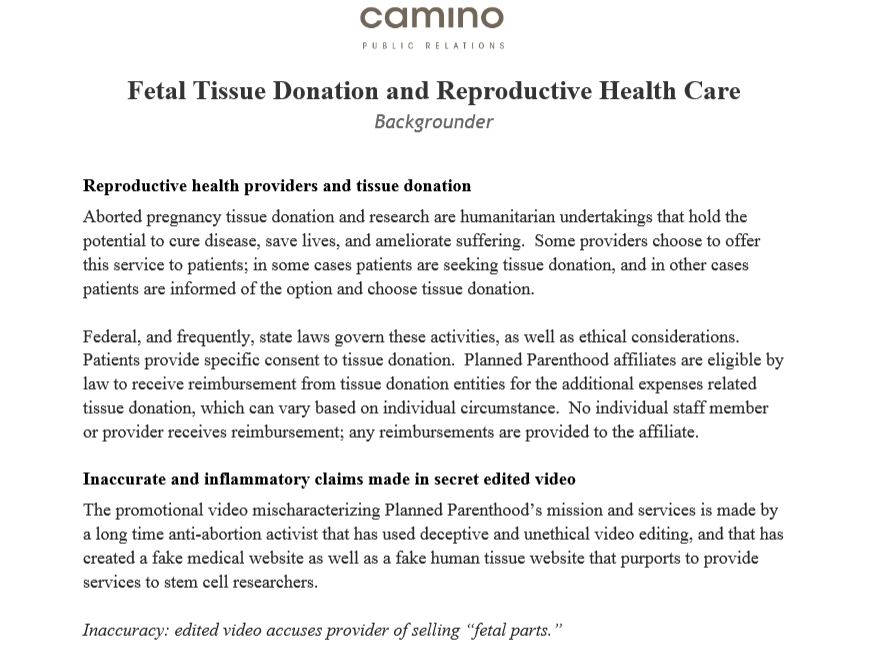 Camino Planned Parenthood Humanitarian Undertakings aborted abortion parts