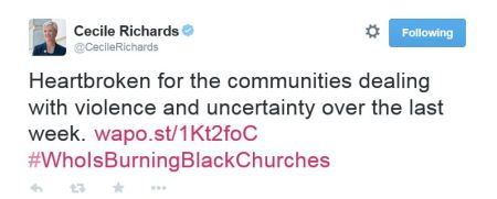 Cecile Richards Planned Parenthood burning churches