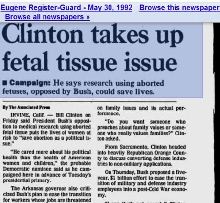 Clinton agrees Planned Parenthood fgetal tissue