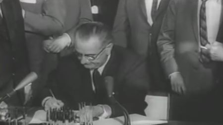 LBJ signs Civil Rights Act 1964