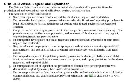 NEA CHild Abuse