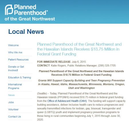 Planned Parenthood 18.75 million HHS