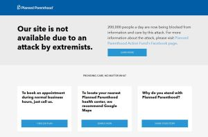 Planned Parenthood site dow 7 2015
