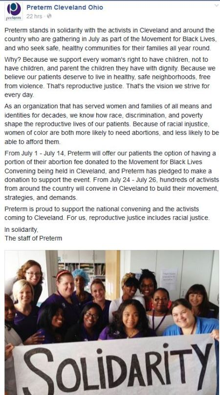 Preterm Abortion clinic Black Lives Movement