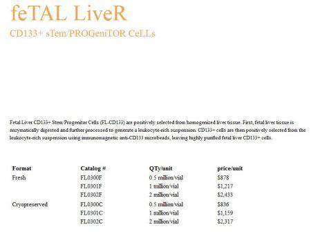 Stem Express Fetal LIver cost 2