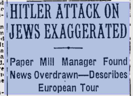 Hitler attack on Jews exaggerated