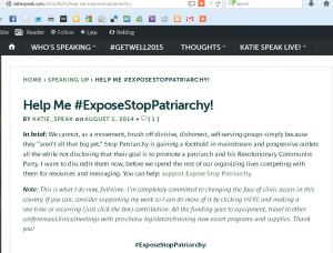 Katie SPeak Stop Patriarchy'