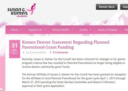 Komen Planned Parenthood 2012