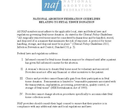NAF Fetal Tissue donation
